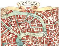 Watercolour Italian maps. Акварельные карты