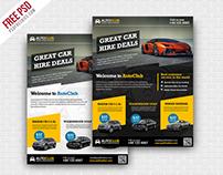 Freebie :  Cars Rental Flyer Free PSD Template