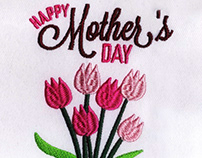 PEACH FLOWERS MOTHERS DAY EMBROIDERY DESIGN