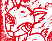 Red Holiday Reindeer | Drawing, Carving, Handprinting