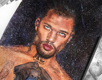 Watercolor portrait of male model Jeremy Meeks