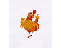 HAPPILY PRANCING ROOSTER BIRD EMBROIDERY DESIGN