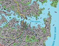 Hand Drawn Map of Sydney