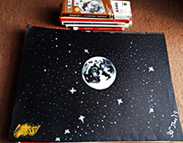Moon White Charcoal Drawing (by Syed Art)