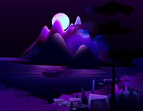 Mountain lake vector illustration