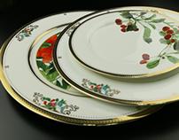 东园花衣浮雕金餐盘