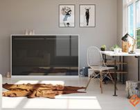 Smartbett 120x200cm White/Anthracite Glossy Front
