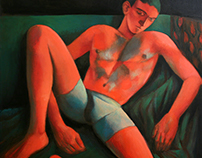 red on green nude 100x90
