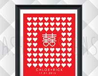 Double Happiness - Wedding Guest Book Poster