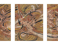 """Triptych, """"Among winter leaves"""","""