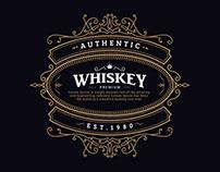 whiskey label vintage badge antique hand drawn frame
