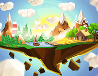Lowpoly Islands. Concept art for 3D modeling