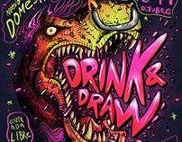 Cartel para el Drink N Draw CDMX octubre 2016