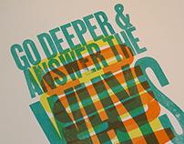 Go deeper letterpress poster