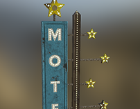 Vintage Starlit Motel Sign Game Asset
