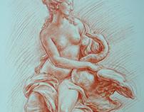 LEDA Z ŁABĘDZIEM rysunek sangwiną (sanguine drawing) 42