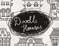 Set of cute doodle houses and seamless patterns
