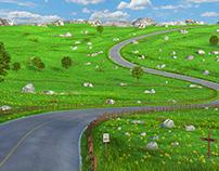 Cartoon Meadow Road
