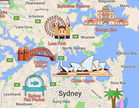 Illustrated map of Australia (Sydney and suburbs)