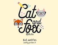 Cat and Fox seamless pattern