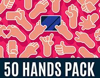 50 Flat Design Hands Illustrations Pack