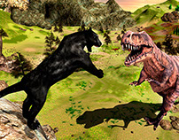 Panther vs T-Rex Dino Game Post Production
