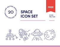 Free Space Exploration Line Icon Set