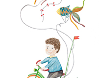 The little boy and the flying kites