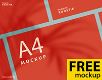 Free mockups. А4,business card and sticker.