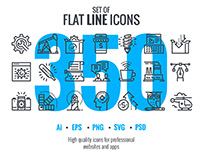 These are big collection of Set flat line icons