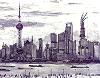 Shanghai, China. Plein air (Urban sketch) 2013