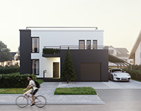 House with terrace on top