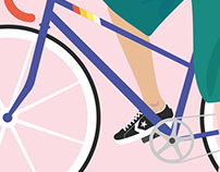 Racing bike girl | Vector illustration