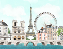 Paris city view-stationery illustration