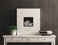 Canvas Mockup White Wood Distressed Console Table