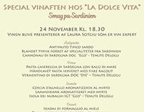 Menu for La Dolce Vita special dinner