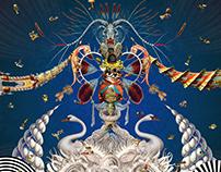 Blue Opera. Silk.Print. 138x138cm