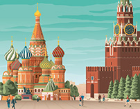 Moscow Russia Retro Travel Poster Illustration