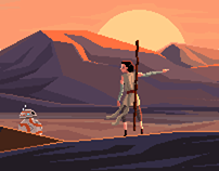 Star Wars: BB-8 falling in love,  pixel art tribute