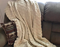 Basketweave Knit Blanket - Neutral Knit Afghan