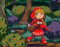 Little red riding hood in the woods.
