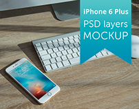FREE Apple iPhone 6 Plus PSD layers MOCKUP