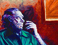 "CHARLES BUKOWSKI ""OLD MAN DEAD IN A ROOM"" ILLUSTRATION"