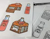 bottle and packaging design, illustration