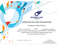 Internship Certificate - BarryLine