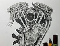 Shovelhead Engine, Life Kustom Cycle, 2016.