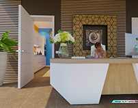 The continuation of the front desk of the hotel in Bali