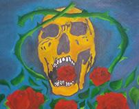 Arte visual em óleo caveira mexicaníssima