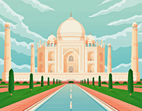 Taj Mahal India Retro Travel Poster City Illustration