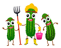 Cartoon characters of cucumbers in a flat style